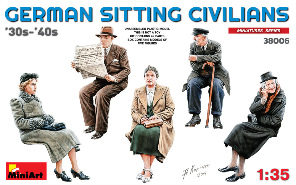 1:35 German Sitting Civilians (5 figúrok)