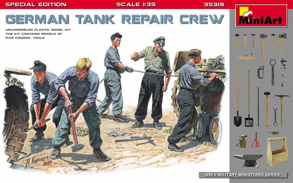 1:35 German Tank Repair Tank Crew with Tools (5 figúrok)