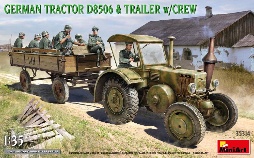 1:35 German Tractor D8506 & Trailer w/ Crew